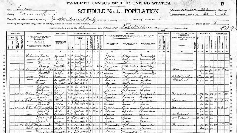 example US census record