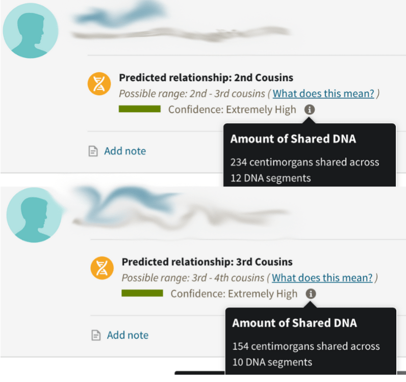My top two DNA matches